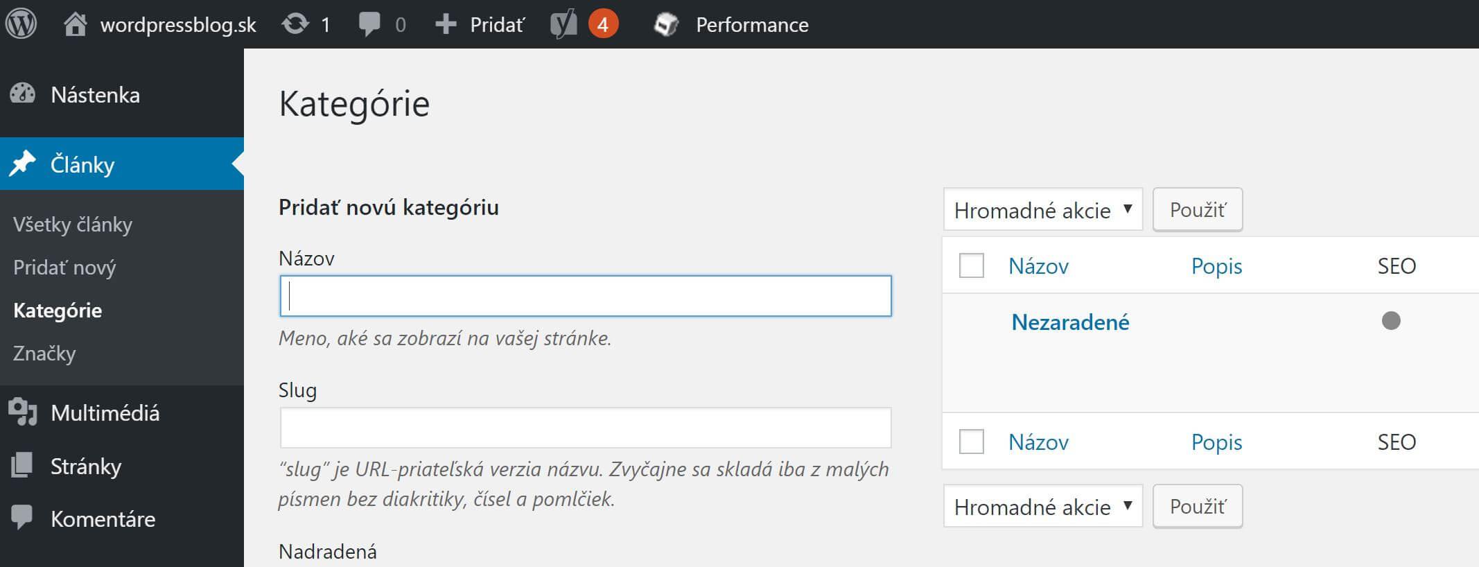 WordPress kategórie