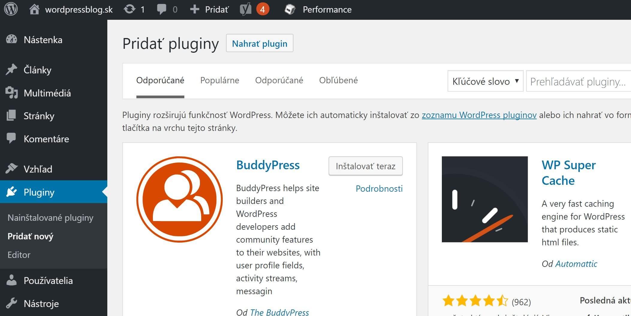 WordPress pridať plugin